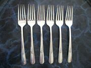 Rare Lot 6 Silverplate Youth Luncheon Forks 7-1/8 1940 Holmes Edwards Nomono Ex