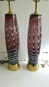 Rare Matched Pair Retro Mid Century Murano Barovier Toso Glass Table Lamps