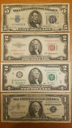 4 Note Lot Blue Seal Red Seal Silver Certificate Old Vintage/antique Cash