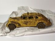 Rusty Yellow Taxi Cab - Arcade Style Toy - Vintage Cast Iron - Stamped 4
