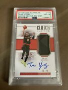 2018 Trae Young National Treasures Clutch Factor Rc Rookie Rpa /99 Psa 8