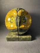 """Pair Vintage Owl Book Ends Alabaster Marble Hand Carved W/ Glass Eyes 6"""""""