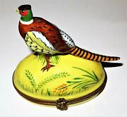 Limoges Box - Vintage Ring-necked Pheasant -leaves And Rocks And Flowers- Game Birds