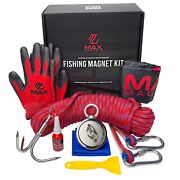 Magnet Fishing Kit - Double Sided 900lb Combined Pull 8pc Set Grappling Hook