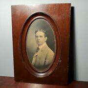 Antique Wooden Mission Style Oval Picture Frame W/ 1870s Photo Of Man 8 X 4.75