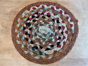 Old Antique Nubby Wool Handmade Mennonite Braided Candle Mat Chair Pad Rug 1