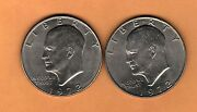 1972p And 1972d Eisenhower Dollar Coins. Two Very Nice Coins