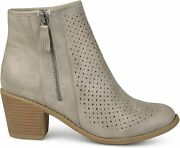 Brinley Co. Womens Malak Faux Leather Faux Wood Comfort-sole Grey Size 6.5