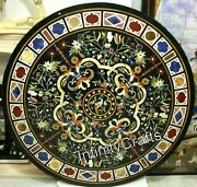 48 Inches Marble Dining Table Top Peitra Dura Art Meeting Table For Office Decor