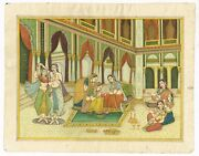 Mughal Miniature Painting Queen Enjoying Dance And Decorated Hand By Mehndi/henna