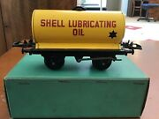 Hornby O Gauge 1955-57 No.50 T-5 Shell Lubricating Oil Tanker.boxed/yellow/black