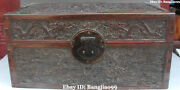 18 Chinese Huanghuali Wood Ancient Dragon Treasure Box Jewel Case Boxes Statue