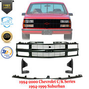 Front Grille + Center Filler + Extensions For 94-00 Chevy C/k Series / Suburban