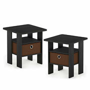 Furinno Andrey 2 Pack Of Bin Drawer End Table Nightstands, Med Brown Open Box