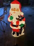 Tpi Plastic Blow Mold Lighted Santa Claus With Reindeer Outdoor Decor 40 L@@k