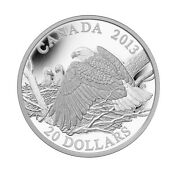 2013 20 Fine Silver Coin - The Bald Eagle Mother Protecting Her Eaglets