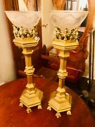Rare Brass Church Remembrance Candle Holder Display Pieces Heavy Heavy