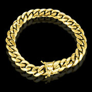Miami Cuban Curb Link Mens Bracelet 10k Yellow Gold 9 Inches