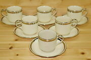 Johnson Brothers Pareek-white With Platinum Bands-6 Demitasse Cups 2andfrac14 Saucers