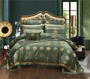 High Quality 4/6/10pc Green Color Luxury Silky Cotton Satin Jacquard Bedding Set