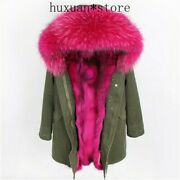 Women's Fur Trim Parka Real Fox Fur Collar And Lined Removable Coat Winter Jacket