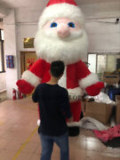 2.6/3m Inflatable Fur Plush Santa Claus Mascot Costume Adult With Air Blower New