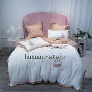 Luxury Egypt Cotton Wishing On Star Bedding Set Embroidery Ruffles Duvet Cover