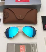 Ray-ban Aviator Sunglasses Rb3026 62-14mm 112/17 Gold Frame And Blue Mirror Lenses