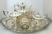 Gorham Plymouth Sterling Silver 5 Pc Coffee Tea Sugar Creamer Waste Plated Tray