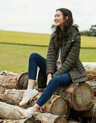 Joules Womens Canterbury Long Luxe Padded Jacket - Heritage Green