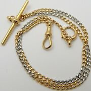 Vintage 14inch 18ct Whiteand Yellow Solid Gold Albert Watch Guard Chain 11.5 Grams