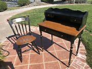 Vintage Ethan Allen Hitchcock Ebony Ladies Writing Desk Black With Chair
