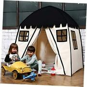 Large Kids Teepee Tent Portable Children Play Tent For Boys Indoor Black