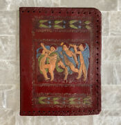 Vintage Italian Leather Book Bible Journal Coverembossed Hand Painted Tooled