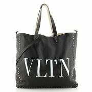 Valentino Vltn Rockstud Shopping Tote Printed Leather Large