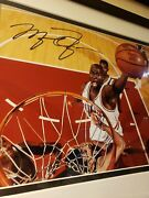 Michael Jordan Autographed Slam🏀dunk Picture With Coa In Frame