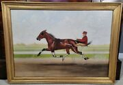 Antique William Van Zandt Oil Painting Horse And Sulky Cart Rider American Folkart