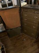 Antique Steamer Trunk Complete With Original Hangers And Document Box