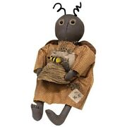 Primitive Bee Doll Primitive Brown Rustic Country Farmhouse Cloth Fabric