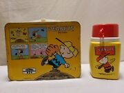 Vintage Charlie Brown Peanuts Metal Lunch Box Plastic Thermos Snoopy Scoutmaster