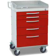 Detecto Wc33669red 5-drawer Whisper Medical Cart Red