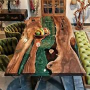 Epoxy Dining Center Table Top Live Edge Green Resin Wood Table For Big Family