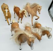Lot Of Six 6 Play Plastic Toy Horses - Breyer And Mattell