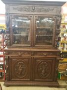 Antique Carved Hunters Cabinet Bookcase French