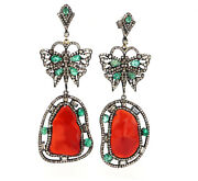 Gold And Silver Victorian Earrings Studded With Emerald Fire Opal And Diamonds.