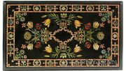 30 Inch Marble Coffee Table Top Marquetry Art Elegant Look Patio Table For Lawn
