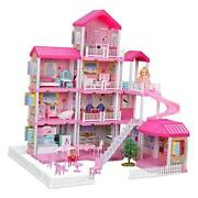 Dollhouse With Dollhouse Furniture And Dolls Dream Doll House For Dolls Villa