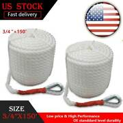3/4x150 And039 2pcs Three Strand Marine Lines Twisted Dock Boat Mooring Anchor Rope