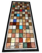 30 Inches Marble Coffee Table Top Geometric Pattern Inlaid Patio Table For Lawn