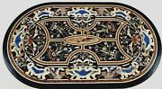 30 Inches Black Marble Coffee Table Top Multi Color Gemstone Inlaid Center Table
